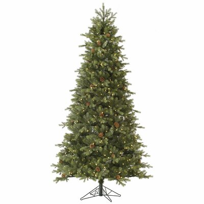 Slim Rocky Mountain 7.5' Green Fir Artificial Christmas Tree with 550 LED White Lights