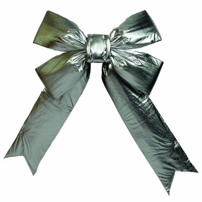 Furniture-Vickerman 24 x 30 Silver Lamé Indoor Commercial Christmas Bow