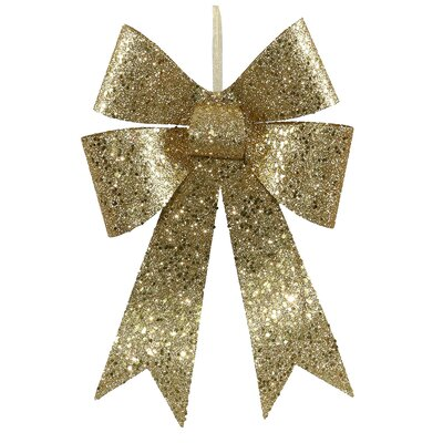 """Sequin and Glitter Bow Christmas Ornament Size: 12"""" H x 8.75"""" W x 2"""" D, Color: Lime Green"""