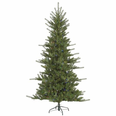 Slim Colorado Spruce 6.5' Green Artificial Christmas Tree with 480 LED Multi-Colored Lights with Stand
