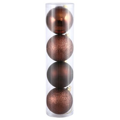 4.75in Matte, Shiny, Sequin & Glitter Ornament (set of 4): Chocolate N591215A