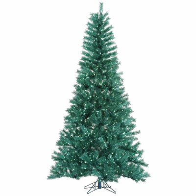 9' Aqua Tinsel Artificial Christmas Tree with 1000 LED Teal Lights