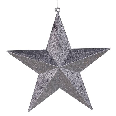 """23"""" Commercial Size Pewter-colored Glitter 5-Pointed Star Christmas Ornament"""
