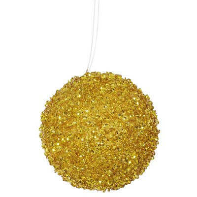Sequin and Glitter Drenched Christmas Ball Ornament Color: Antique Gold