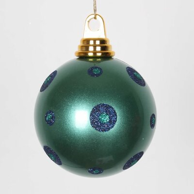"Glitter Polka Dots Christmas Ball Ornament Size: 4.75"" W x 4.75"" D, Color: Teal Green/Sea Blue"
