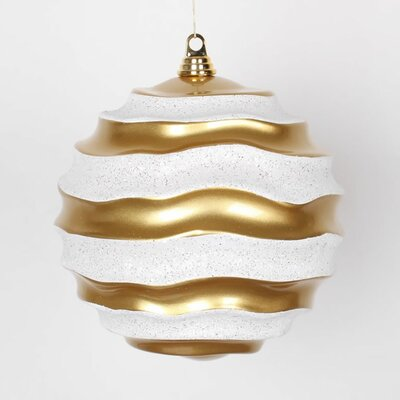 """Gold and White Glitter Wave Shatterproof Christmas Ball Ornament 10"""" (250mm)"""