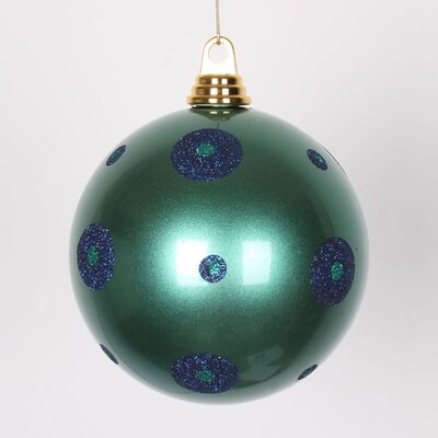 "Glitter Polka Dots Christmas Ball Ornament Size: 6"" W x 6"" D, Color: Teal Green/Sea Blue"