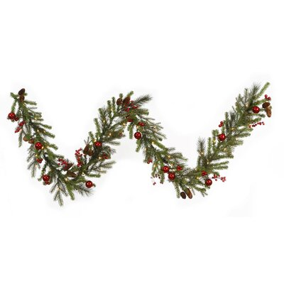 Berry and Ball Ornament Mixed Pine Artificial Christmas Garland with Lights G120513