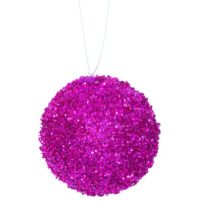 Glitter Drenched Christmas Ball Ornament Color: Fuchsia