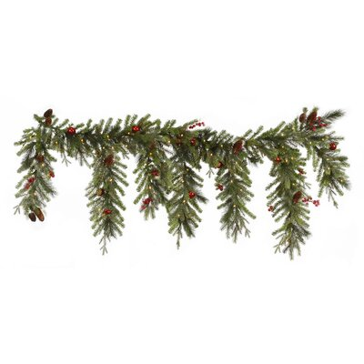Berry & Ball Ornament Mixed Pine Artificial Christmas Garland with Lights G120518