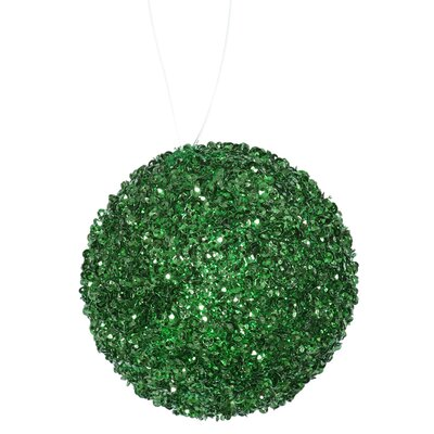 Glitter Drenched Christmas Ball Ornament Color: Emerald Green
