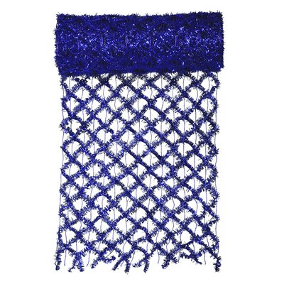 Commercial Length Extra Wide Wired Mesh Tinsel Garland Ribbon Color: Blue
