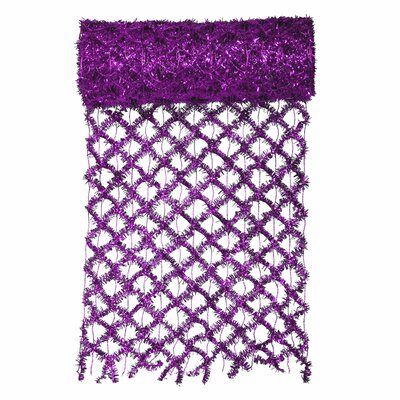 Commercial Length Extra Wide Wired Mesh Tinsel Garland Ribbon Color: Purple