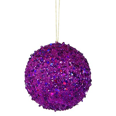 "Holographic Glitter Drenched Christmas Ball Ornament Size: 3"" W x 3"" D, Color: Purple"