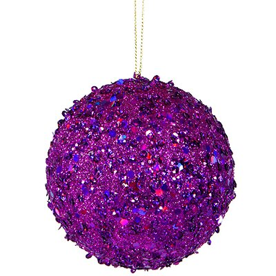 "Holographic Glitter Drenched Christmas Ball Ornament Size: 4.75"" W x 4.75"" D, Color: Purple"