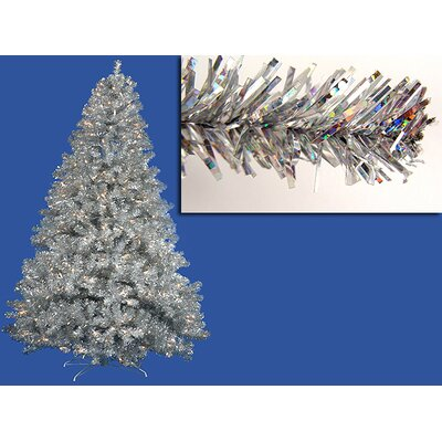 9'Sparkling Silver Full Artificial Tinsel Christmas Tree with Clear Lights