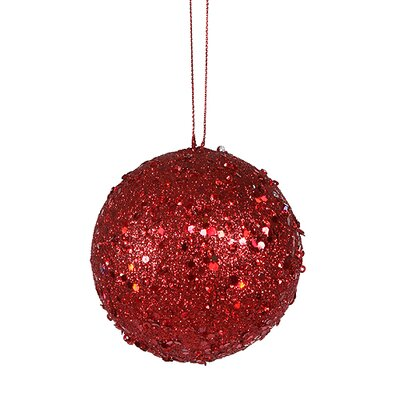 "Holographic Glitter Drenched Christmas Ball Ornament Size: 3"" W x 3"" D, Color: Red Hot"