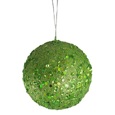 "Holographic Glitter Drenched Christmas Ball Ornament Size: 4"" W x 4"" D, Color: Lime Green"