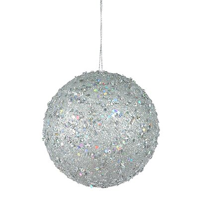 "Holographic Glitter Drenched Christmas Ball Ornament Size: 4"" W x 4"" D, Color: Silver"