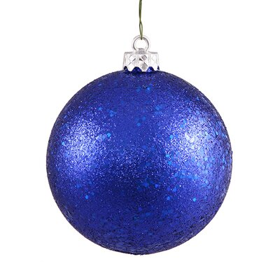 "Holographic Glitter Shatterproof Christmas Ball Ornament Size: 6"" W x 6"" D, Color: Cobalt Blue"