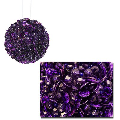 """Fully Sequined and Beaded Christmas Ball Ornament Size: 4.25"""" W x 4.25"""" D, Color: Purple"""