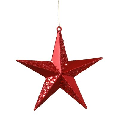 Matching Iridescent Glitter Christmas Star Ornament Color: Red Hot