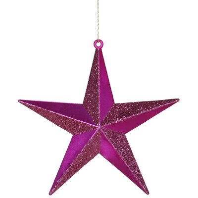 Matching Iridescent Glitter Christmas Star Ornament Color: Cerise Pink
