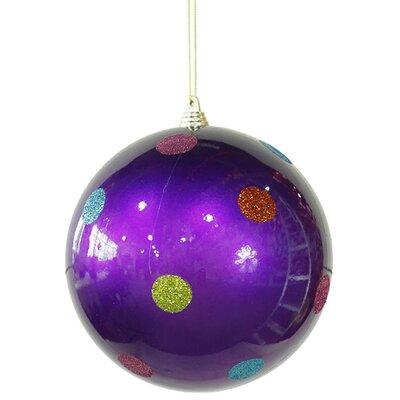 "Polka Dot Shatterproof Christmas Ball Ornament Size: 5.5"" W x 5.5"" D, Color: Purple"