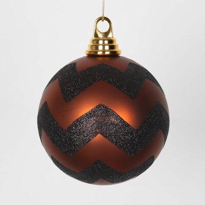"Glitter Chevron Shatterproof Christmas Ball Ornament Color: Copper Matte/Black, Size: 4.75"" W x 4.75"" D"