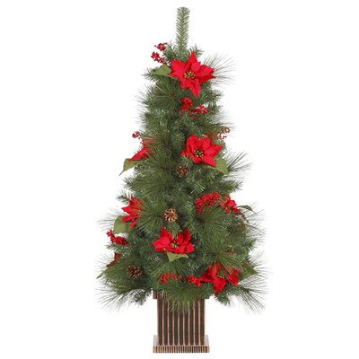 4' Poinsettia Berry and Pine Cone Potted Artificial Christmas Tree