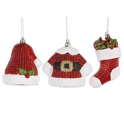 Shiny 6 Piece Shatterproof Santa Claus Hat Jacket and Stocking Christmas Ornament Set