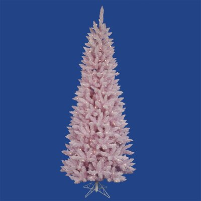 7.5'Flocked Cupcake Pink Spruce Christmas Tree with LED Clear Lights