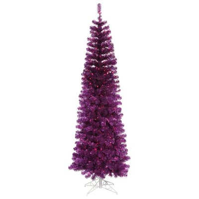4.5' Purple Tinsel Pencil Artificial Christmas Tree with Purple Lights