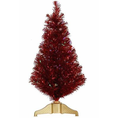 3' Red Hot Artificial Tinsel Christmas Tree with Multi Lights