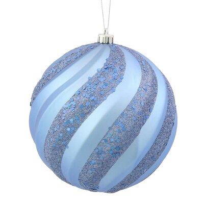 "Glitter Swirl Shatterproof Christmas Ball Ornament Size: 8"" H x 8"" W x 8"" D, Color: Lake Blue"
