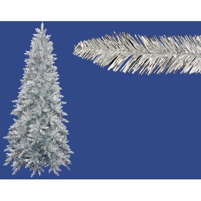 7.5' Silver Ashley Spruce Artificial Tinsel Christmas Tree with Clear Lights