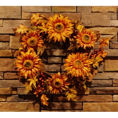 "Vickerman 24"" Artificial Autumn Harvest Sunflower Berry Wreath P136624"
