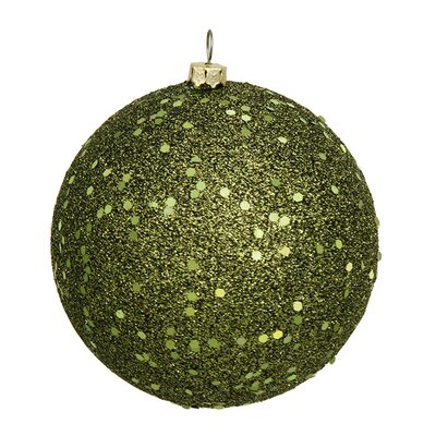 "Holographic Glitter Shatterproof Christmas Ball Ornament Size: 4"" W x 4"" D, Color: Olive Green"