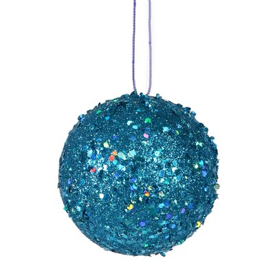 "Holographic Glitter Drenched Christmas Ball Ornament Color: Blue, Size: 4"" W x 4"" D"