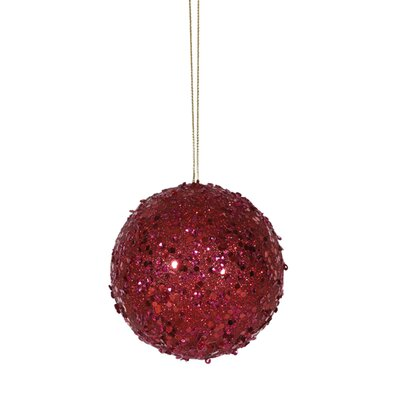 "Holographic Glitter Drenched Christmas Ball Ornament Size: 4"" W x 4"" D, Color: Deep Red"