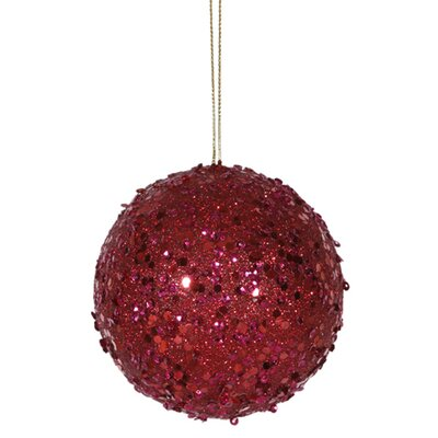 "Holographic Glitter Drenched Christmas Ball Ornament Size: 3"" W x 3"" D, Color: Deep Red"