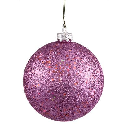 "Bubblegum Pink Holographic Glitter Shatterproof Christmas Ornament 4"" (100mm)"