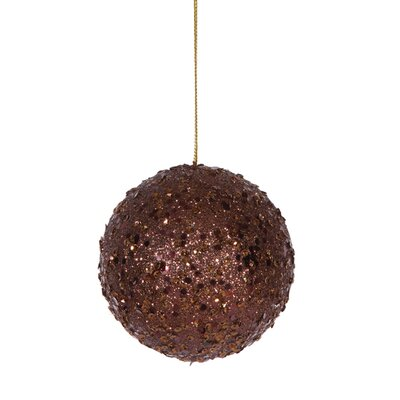 "Holographic Glitter Drenched Christmas Ball Ornament Size: 4"" W x 4"" D, Color: Chocolate Brown"