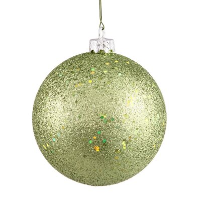"Holographic Glitter Shatterproof Christmas Ball Ornament Size: 4"" W x 4"" D, Color: Green Kiwi"