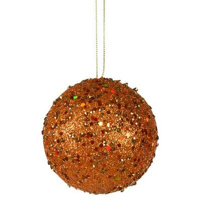 "Holographic Glitter Drenched Christmas Ball Ornament Size: 4"" W x 4"" D, Color: Orange"