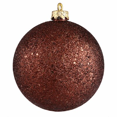 "Holographic Glitter Shatterproof Christmas Ball Ornament Size: 4"" W x 4"" D, Color: Chocolate Brown"