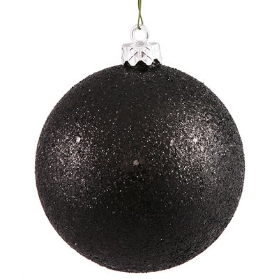 "Holographic Glitter Shatterproof Christmas Ball Ornament Size: 8"" W x 8"" D, Color: Jet Black"