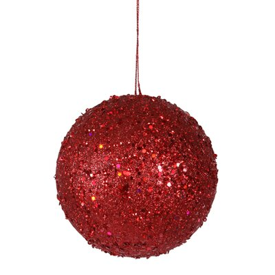 "Holographic Glitter Drenched Christmas Ball Ornament Size: 4.75"" W x 4.75"" D, Color: Red Hot"