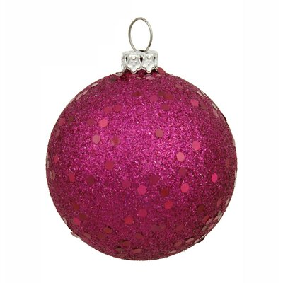 "Holographic Glitter Shatterproof Christmas Ball Ornament Size: 6"" W x 6"" D, Color: Pink Magenta"