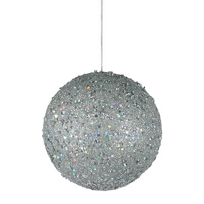 "Holographic Glitter Drenched Christmas Ball Ornament Size: 4.75"" W x 4.75"" D, Color: Silver"